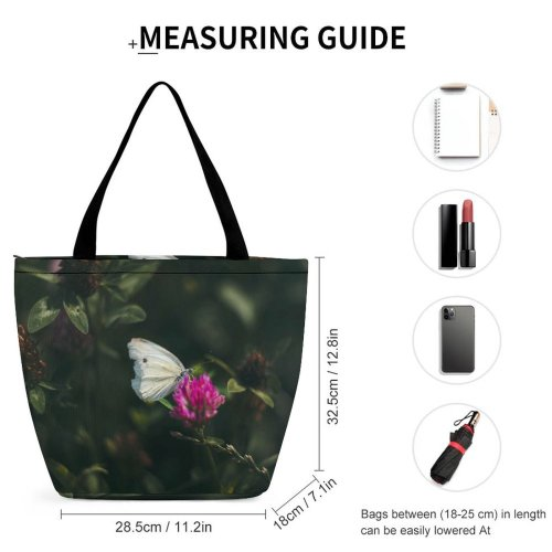 Yanfind Shopping Bag for Ladies Flower Flora Geranium Plant Insect Butterfly Pollen Microworld Macro Woodland Reusable Multipurpose Heavy Duty Grocery Bag for Outdoors.