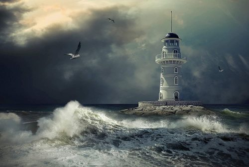 yanfind A1 | Stormy Weather Poster Art Print 60 x 90cm 180gsm Lighthouse Sea