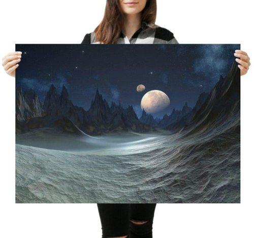 yanfind A1 Sci Fi Landscape Moon Scene Poster Art Print 60 X 90cm 180gsm Fun