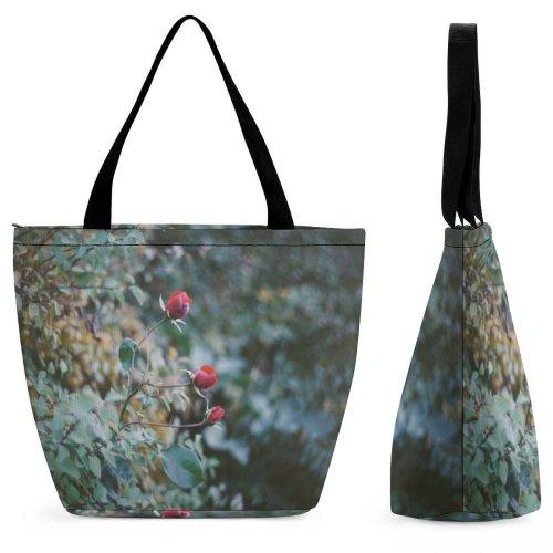 Yanfind Shopping Bag for Ladies Flower Bud Plant Sprout Rose Osijek Croatia Petal Geranium Street Grey Reusable Multipurpose Heavy Duty Grocery Bag for Outdoors.