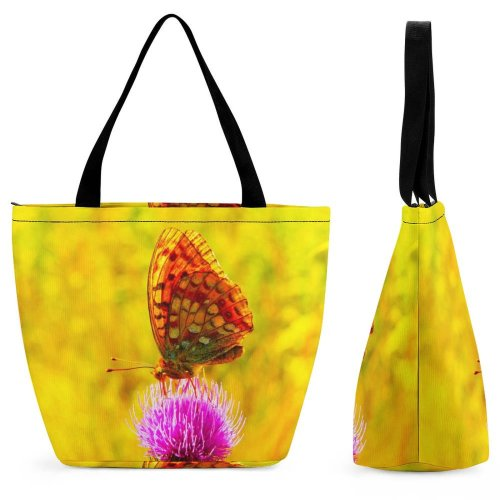 Yanfind Shopping Bag for Ladies Flower Flora Plant Thistle Wing Butterfly Vibrant Purple Macro Detail Closeup Reusable Multipurpose Heavy Duty Grocery Bag for Outdoors.