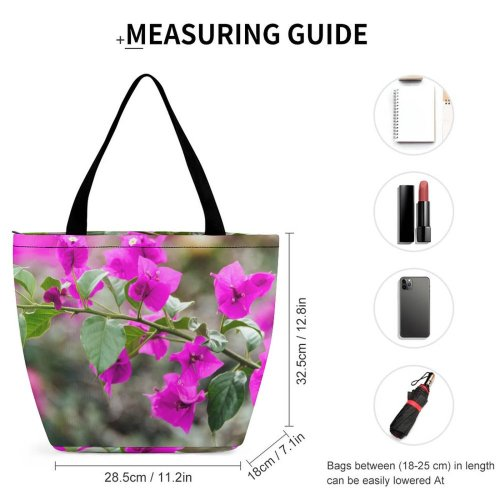 Yanfind Shopping Bag for Ladies Flower Flora Geranium Plant Leaves Garden Outdoors Depth Field Purple Tree Reusable Multipurpose Heavy Duty Grocery Bag for Outdoors.
