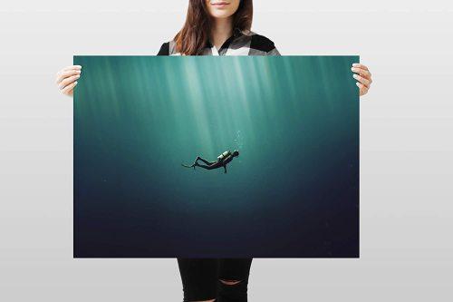 yanfind A1 | Scuba Diving Poster Art Print 60 x 90cm 180gsm Diver Sea Ocean