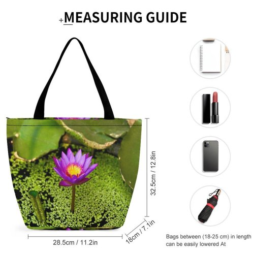 Yanfind Shopping Bag for Ladies Flower Flora Lily Plant Pond Leaves Outdoors Stem Purple Lilypad Reusable Multipurpose Heavy Duty Grocery Bag for Outdoors.