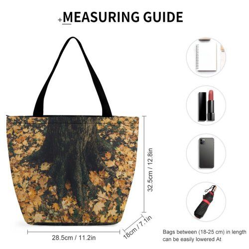 Yanfind Shopping Bag for Ladies Flora Ivy Plant Tree Autumnal Grass Fallen Leaves Roots Trunk Autumn Forest Reusable Multipurpose Heavy Duty Grocery Bag for Outdoors.