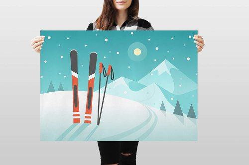 yanfind A1 | Skis Poster Art Print 60 x 90cm 180gsm Ski Skiing Mountain