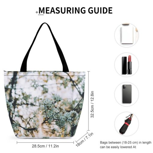 Yanfind Shopping Bag for Ladies Flower Flora Plant Cherry Forest Tree Sunlight Floral Bokeh Spring Flowers Reusable Multipurpose Heavy Duty Grocery Bag for Outdoors.