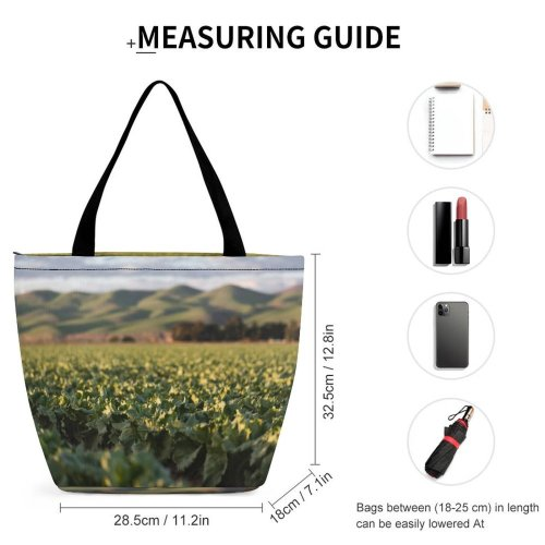 Yanfind Shopping Bag for Ladies Flora Plant Tobacco Field Vegetable Santa Maria United States Cabbage Produce Leafy Reusable Multipurpose Heavy Duty Grocery Bag for Outdoors.