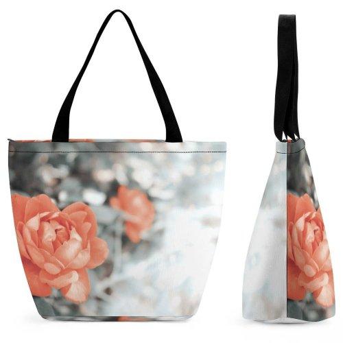 Yanfind Shopping Bag for Ladies Flower Flora Geranium Plant Rose Petal Carnation Floral Grey Public Domain Reusable Multipurpose Heavy Duty Grocery Bag for Outdoors.