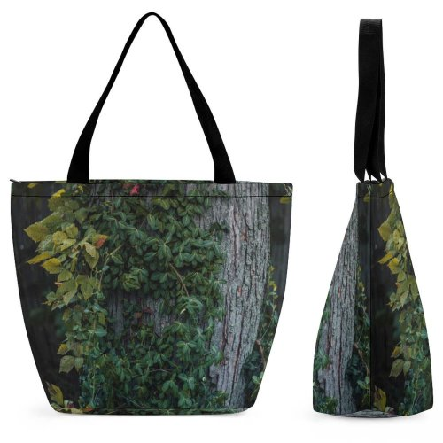 Yanfind Shopping Bag for Ladies Flora Ivy Plant Tree Dayton United States Wilderness Overgrown Trunk Forest Reusable Multipurpose Heavy Duty Grocery Bag for Outdoors.