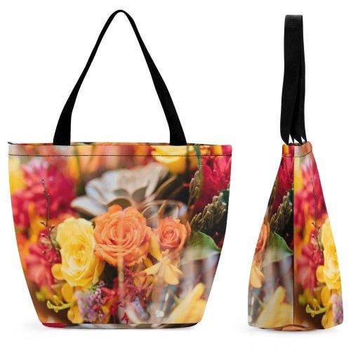 Yanfind Shopping Bag for Ladies Flower Flora Plant Rose Arrangement Bouquet Ornament Jar Potted Pottery Vase Reusable Multipurpose Heavy Duty Grocery Bag for Outdoors.