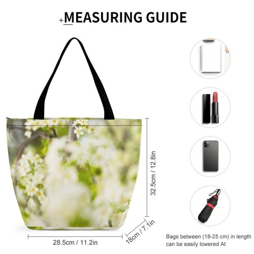 Yanfind Shopping Bag for Ladies Flower Flora Plant Cherry Tree Spring Landscape Depth Field Branch Macro Reusable Multipurpose Heavy Duty Grocery Bag for Outdoors.