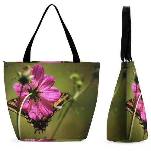 Yanfind Shopping Bag for Ladies Flower Geranium Plant Andrena Bee Hornet Insect Invertebrate Honey Pollen Reusable Multipurpose Heavy Duty Grocery Bag for Outdoors.