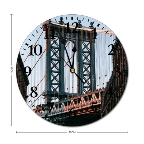 yanfind Fashion PVC Wall Clock Aged America Arch Architecture Sky Brooklyn Building Calm Center City Clear Mute Suitable Kitchen Bedroom Decorate Living Room