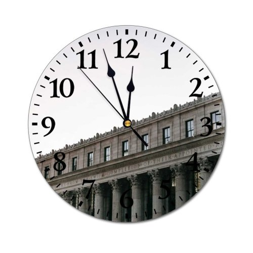 yanfind Fashion PVC Wall Clock Aged America Architecture Building Center City Cityscape Classic Column Complex Construction Contemporary Mute Suitable Kitchen Bedroom Decorate Living Room