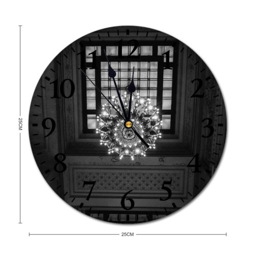 yanfind Fashion PVC Wall Clock Aged America Architecture Attract Building Bw Ceiling Chandelier Classic Construction Decor Mute Suitable Kitchen Bedroom Decorate Living Room