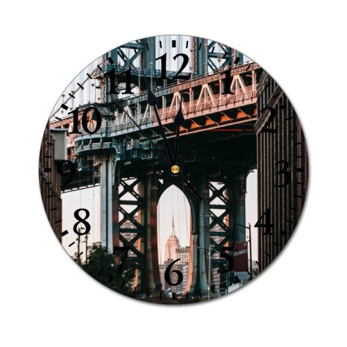 yanfind Fashion PVC Wall Clock Aged America Arch Architecture Brick Brooklyn Building Center City Column Complex Mute Suitable Kitchen Bedroom Decorate Living Room