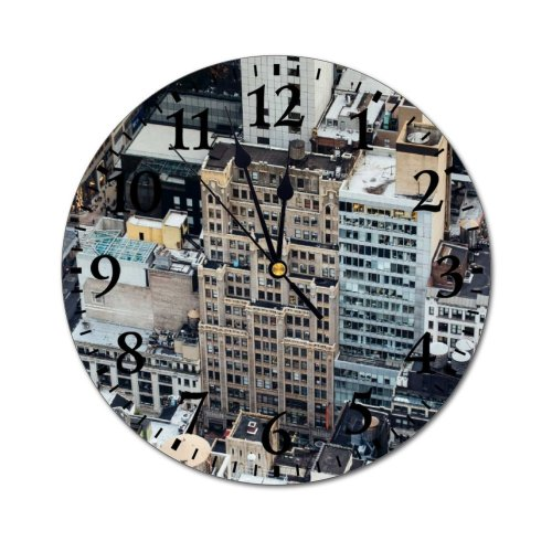 yanfind Fashion PVC Wall Clock Aged America Architecture Building Center City Cityscape Complex Construction Contemporary Creative Mute Suitable Kitchen Bedroom Decorate Living Room