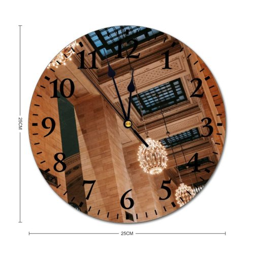 yanfind Fashion PVC Wall Clock Aged America Architecture Attract Brick Wall Building Ceiling Chandelier Classic Column Construction Mute Suitable Kitchen Bedroom Decorate Living Room