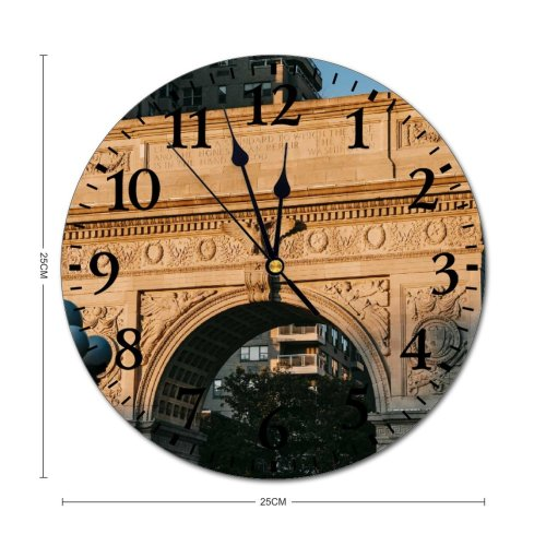 yanfind Fashion PVC Wall Clock Aged America Arched Architecture Building City Cityscape Construction Daytime Detail District Mute Suitable Kitchen Bedroom Decorate Living Room