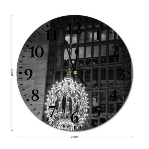 yanfind Fashion PVC Wall Clock Aged America Architecture Attract Brick Wall Building Bw Ceiling Chandelier Classic Construction Mute Suitable Kitchen Bedroom Decorate Living Room