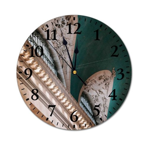 yanfind Fashion PVC Wall Clock Aged America Arch Architecture Attract Brick Building Ceiling Classic Column Construction Mute Suitable Kitchen Bedroom Decorate Living Room