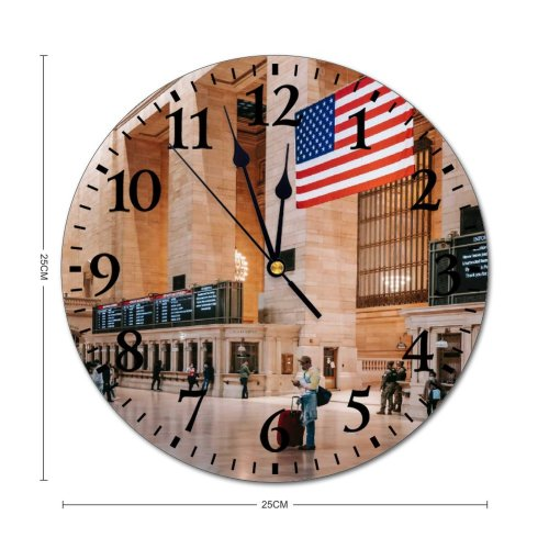 yanfind Fashion PVC Wall Clock Aged America Arch Architecture Attract Balcony Brick Building Ceiling Classic Column Construction Mute Suitable Kitchen Bedroom Decorate Living Room