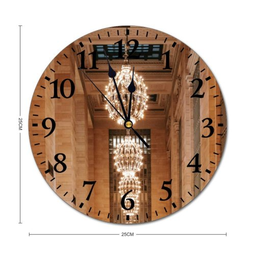 yanfind Fashion PVC Wall Clock Aged America Architecture Attract Balcony Brick Wall Building Ceiling Chandelier Classic Column Mute Suitable Kitchen Bedroom Decorate Living Room