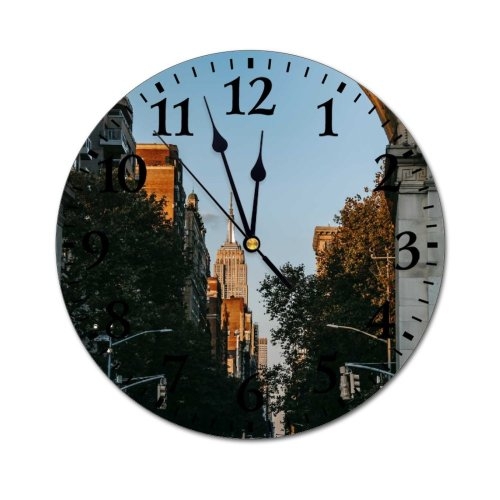yanfind Fashion PVC Wall Clock Aged America Ancient Arch Arched Architecture Archway Sky Building Center City Mute Suitable Kitchen Bedroom Decorate Living Room