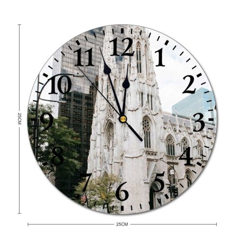 yanfind Fashion PVC Wall Clock Aged America Ancient Architecture Area Building Cathedral Center Church City Cityscape Complex Mute Suitable Kitchen Bedroom Decorate Living Room