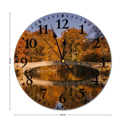 yanfind Fashion PVC Wall Clock Aged America Architecture Autumn Sky Bow Calm Central Park City Mute Suitable Kitchen Bedroom Decorate Living Room