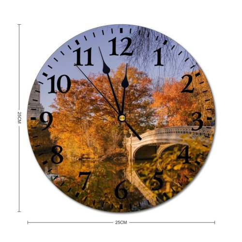 yanfind Fashion PVC Wall Clock Aged America Architecture Autumn Bow Building Calm Central Park City Mute Suitable Kitchen Bedroom Decorate Living Room