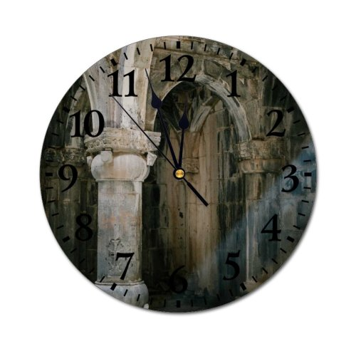 yanfind Fashion PVC Wall Clock Aged Ancient Arch Arched Architecture Archway Building Ceiling Cement Colonnade Column Concrete Mute Suitable Kitchen Bedroom Decorate Living Room