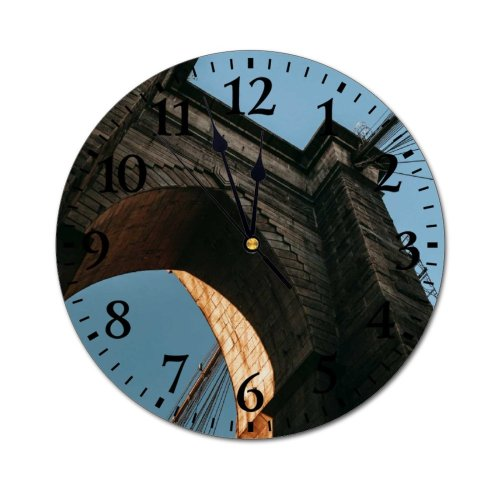 yanfind Fashion PVC Wall Clock Aged America Arch Arched Architecture Area Attract Sky Brooklyn City Mute Suitable Kitchen Bedroom Decorate Living Room