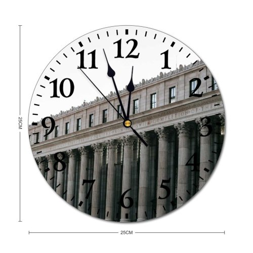 yanfind Fashion PVC Wall Clock Aged America Architecture Art Building Center Classic Column Complex Construction Contemporary Creative Mute Suitable Kitchen Bedroom Decorate Living Room
