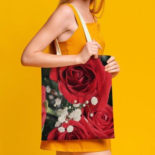 yanfind Great Martin Canvas Tote Bag Double Flower Plant Rose Arrangement Bouquet Public Domain white-style1 38×41cm