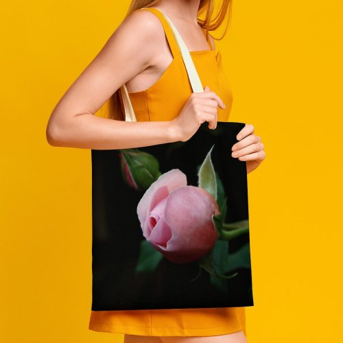 yanfind Great Martin Canvas Tote Bag Double Flower Plant Rose Bud Sprout Purple white-style1 38×41cm