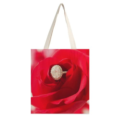 yanfind Great Martin Canvas Tote Bag Double Flower Plant Rose Accessories Accessory Jewelry Gemstone Ring Stock white-style1 38×41cm
