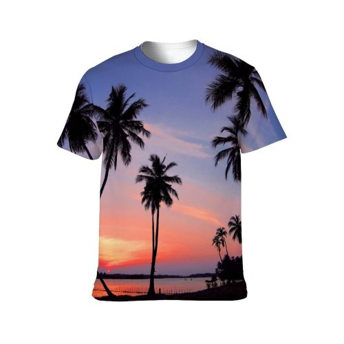 yanfind Adult Full Print T-shirts (men And Women) 4k Clouds Cool Desktop Dawn Dusk Idyllic Landscape Palm Trees Paradise Plants