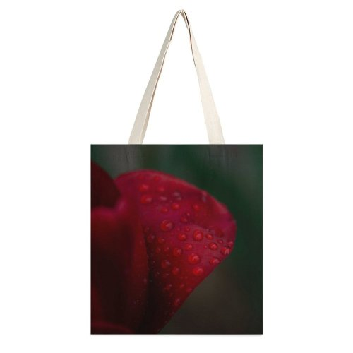yanfind Great Martin Canvas Tote Bag Double Flower Petal Plant Geranium Rose Droplet white-style1 38×41cm