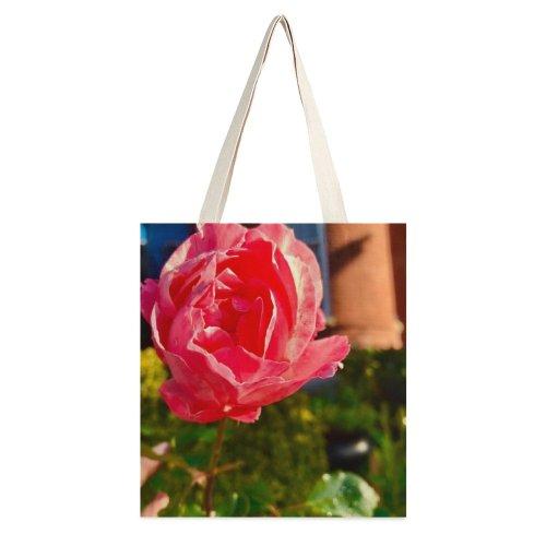 yanfind Great Martin Canvas Tote Bag Double Flower Plant Rose St Se Washington United States Geranium Petal white-style1 38×41cm
