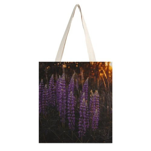yanfind Great Martin Canvas Tote Bag Double Flower Plant Flora Lupin Tree Grassland Forest Field Crocus Grey Mother white-style1 38×41cm