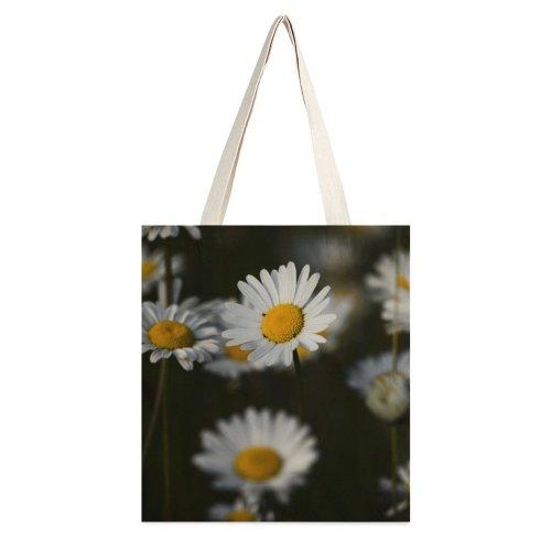 yanfind Great Martin Canvas Tote Bag Double Flower Plant Daisies Daisy Blossoms Pistils Pistil Macro Detail Light Meadow white-style1 38×41cm
