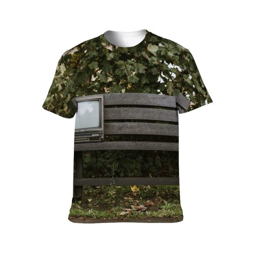 yanfind Adult Full Print T-shirts (men And Women) Abandoned Aged Antiquated Bench Blurred Board Bush Space Countryside Deciduous Derelict Desolate
