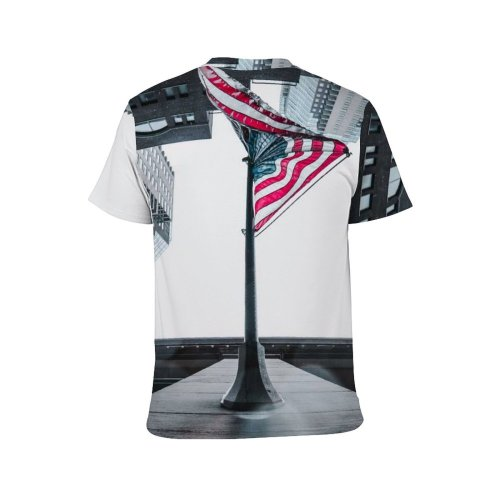 yanfind Adult Full Print T-shirts (men And Women) 4th July America Flag Architecture Building City Cityscape Dark District Downtown