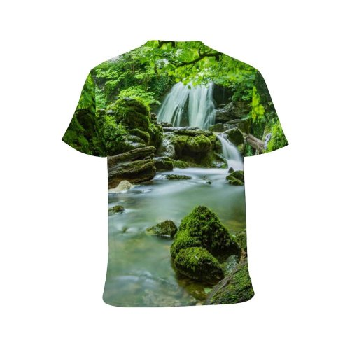 yanfind Adult Full Print T-shirts (men And Women) 4k Beautiful Cascade Creek Desktop Flow Foliage Forest Greenery Idyllic Jungle