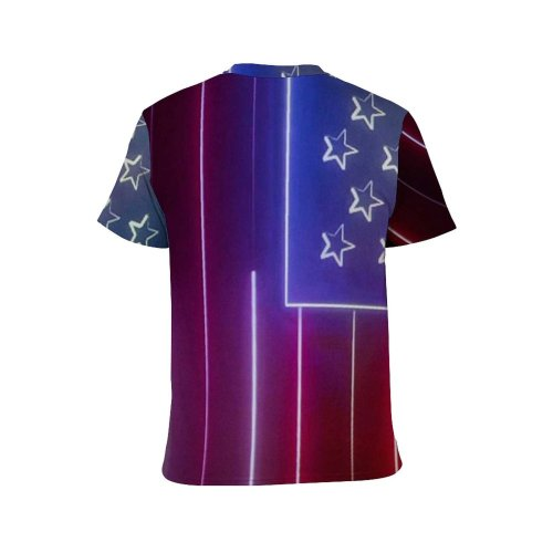 yanfind Adult Full Print T-shirts (men And Women) 4th July Creative Democracy Flag Fourth Futuristic Independence 4 Jul National Neon