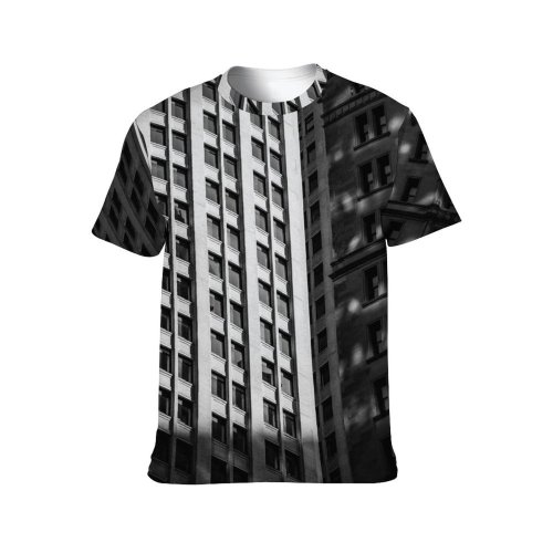 yanfind Adult Full Print T-shirts (men And Women) Abstract Accommodation Apartment Architecture Area Building Bw City Cityscape Commerce Community Condominium