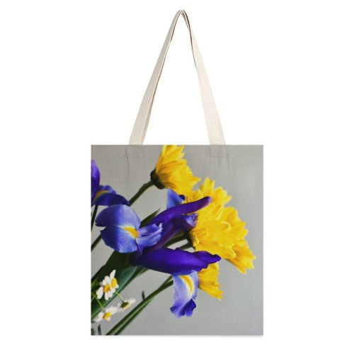 yanfind Great Martin Canvas Tote Bag Double Flower Plant Daisy Petal Vibrant Violet Anther Daisies white-style1 38×41cm