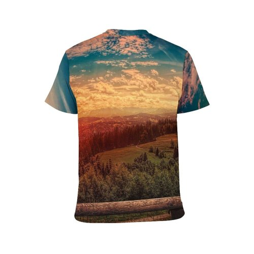 yanfind Adult Full Print T-shirts (men And Women) 4k Clouds Daylight Forest Landscape Landscapes Mountains Outdoors Scenic Sky Sunshine